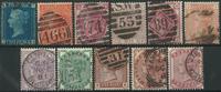 Grande-Bretagne 1841-81 - 11 timbres oblitéré