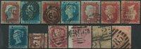 England 1841-76 - 13 stemplede mærker