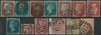 Great Britain 1841-76 - 13 cancelled stamps