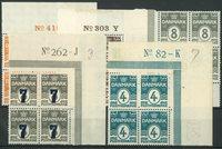 Danmark 1905-26 - 5 postfriske marginal 4-blokke
