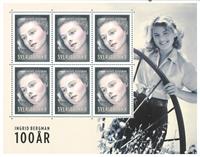 Sverige - Ingrid Bergman - Souvenirark - Souvenirark med 6 mærker.