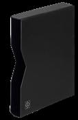 cajetín projoector para clasificadores, tapa de cuero acolchada, 32 páginas, negro
