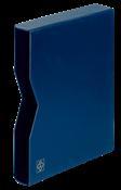 Cajetín projoector para clasificadore A4, 32 páginas negras, tapa de cuero* acolchada azul