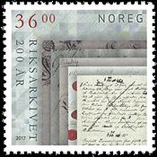 Norge - Rigsarkivet 200 år - Postfrisk frimærke