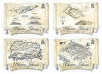 Pitcairn Islands - Old Maps - Mint set 4v