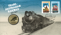 Australie - Jubilée chemins de fer trans-Australiens - Lettre philatélique-numism. bleue