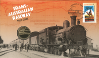 Australia -Jubilee Trans-Aust.Railway - PNC / Coin Cover, red