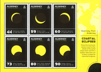 Alderney - Coastal Eclipses - Mint souvenir sheet heat sensitive imprint