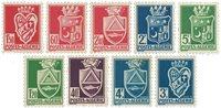 YT 175-83 (-179A,179B) Algérie 1942-45, Armoiries de villes