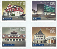 Switzerland - Railway stations - Mint set 4v