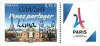 Frankrig - OL i Paris 2024 overtryk - Postfrisk frimærke