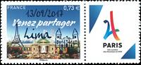 France - JO à Paris en 2024, surcharge - Timbre neuf