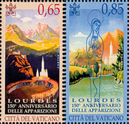 Vatican - 150th Ann. Lourdes - Mint set 2v