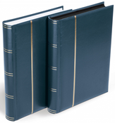 Stockbook for letters and postcards - Blue - Size A4 - 64 black pages - padded cover