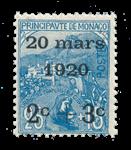 Monaco - 1920 - Yvert 35, neuf avec charnière