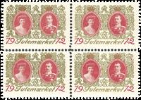 Danmark julemærke 1912 - enkeltmærke + 4-blok postfrisk