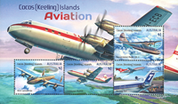 Cocos Keeling - Aviation - Mint souvenir sheet