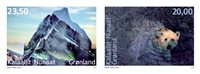 诺菲集邮,格陵兰岛新邮,格陵兰岛自然风景和动物,两枚套票 - 新票套票2枚