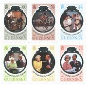 诺菲集邮,根西岛新邮,女王70年结婚纪念日 6枚套票 - 新票套票6枚
