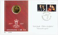 Jubilæumsmøntbrev - Dronning Margrethe 25 års regeringsjubilæum