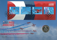 Gran Bretagna 2018 - Centen. Royal Air Force / Red  Arrows - busta filatelico-numismatica
