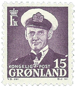 Grønland - Kong Frederik IX - 15 øre - lilla