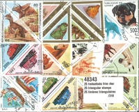 25 triangular stamps