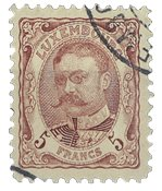 Luxembourg - Duke William, 5 Fr. Lillarød - Stemplet (nr. Mi 83)