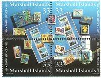 Marshall Øerne - Frimærker på frimærker - Postfrisk sammentrykt 4-blok