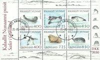 Grønland  - miniark sæler - stemplet