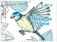 Frankrig - Blåmejse - Postfrisk frimærke