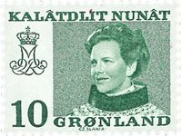 Groenland - Reine Margrethe II - 10 øre - Impression floue