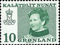 Grønland - Dronning Magrethe II - 10 øre - Uskarpt, urent, grumset tryk