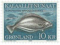 Grønland - 1985. Hellefisk - 10 kr. - Blå / Brun