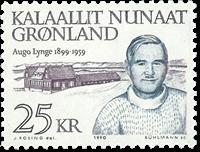 Politikerne Frederik Lynge og Augustinus Telef Nis  Lynge - 25 kr. -Blå/Lill