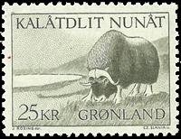 Grønland - 1969. Moskusokse - 25 kr. - Grågrøn
