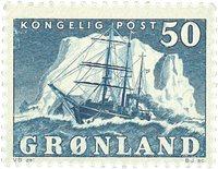 Grønland - Ishavsskibet 'Gustav Holm' - 50 øre - Blå