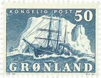 Grønland - Ishavsskibet *Gustav Holm* - 50 øre - Blå
