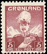 Groenland - Roi Christian X - Lie-de-vin - Type II  - 5 øre