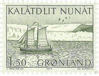 Groenland - 1974. Chaloupe - 1,50 kr. - Vert-jaune