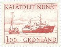 Groenland - 1976. Hydravion amphibie et vaisseau côtier - 100 øre - Rouge