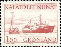 Grønland - 1976. Flyvemaskine og skibe - 100 øre -  Rød
