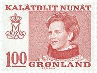 Groenland - Reine Margrethe II -100 øre- Rouge flou (papier fluorescent)