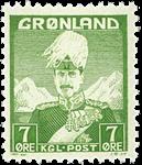 Groenland - Roi Christian X - Vert-jaune - Type I - 7 øre