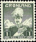 Groenland - Roi Christian X - Gris-vert - Type II - 1 øre