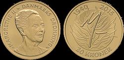 20 kr. mønt Dronningens 75-års fødselsdag 16.april2015