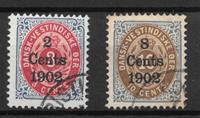 Antille Danesi 1902 - AFA 20y + 21 - Timbrato