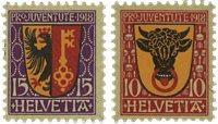 Schweiz 1918 - Michel 143/44 - Ubrugt