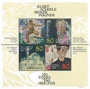 奥地利新邮 著名画家克利姆特、席勒、莫塞尔、瓦格纳逝世100周年 - 新票小全张
