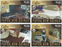 Papouasie Nlle Guinée - Production de café - Série neuve 4v
